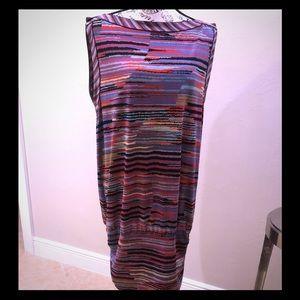 BCBG dress, gathered skirt abstract pattern